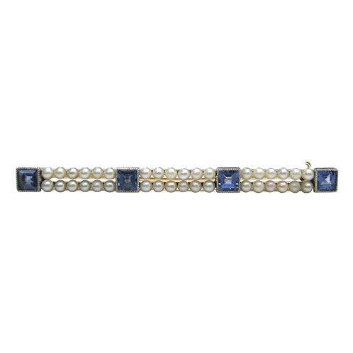 Vintage Pearl & Sapphire Bar Brooch