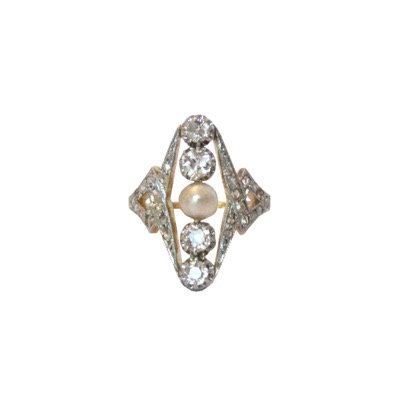 Antique French Diamond & Pearl Dinner Ring