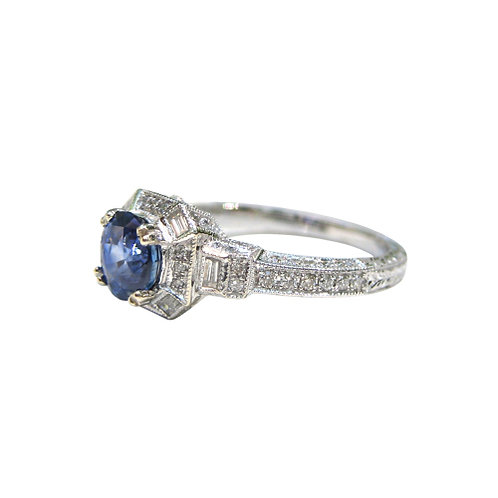 Sapphire & Diamond 18K Engagement Ring