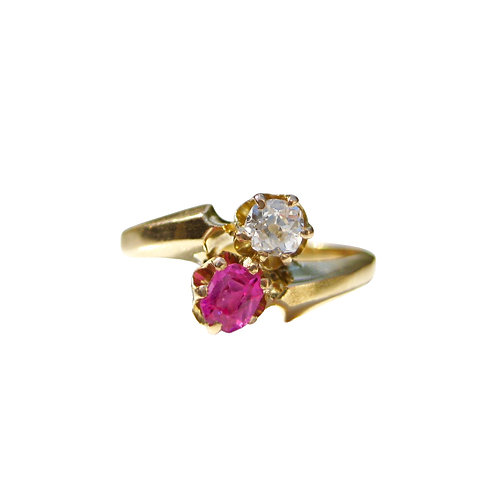 Ruby & Diamond Antique 18K Bypass Ring