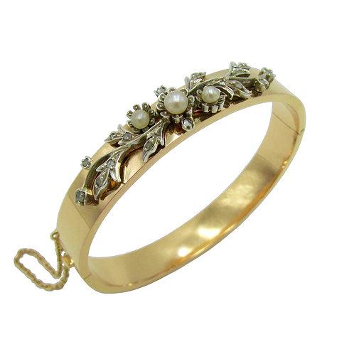 French Pearl & Diamond 18K Rose Gold Bangle