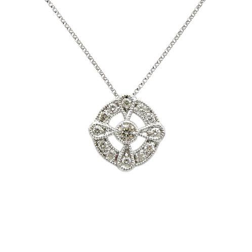 Delicate Diamond & 18K White Gold Necklace