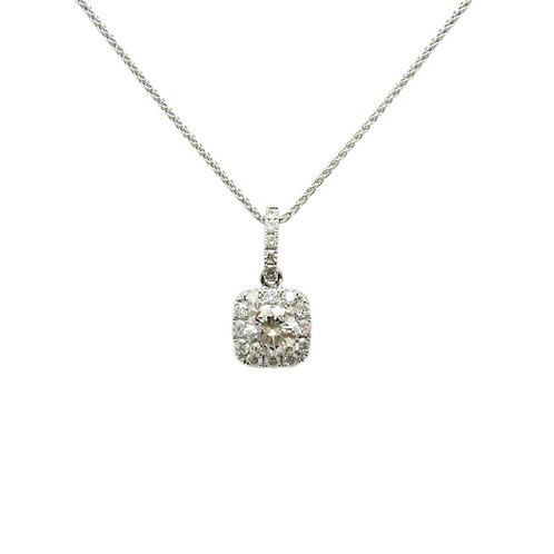 Petite Diamond Halo 14K Gold Pendant Necklace