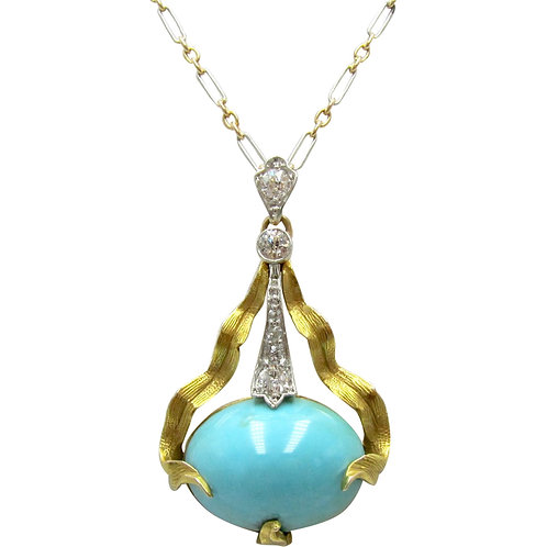 Art Nouveau Turquoise & Diamond Pendant