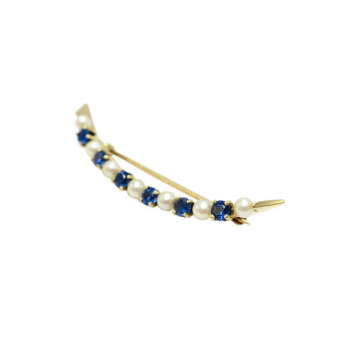 Sapphire & Pearl Crescent Moon Edwardian Brooch