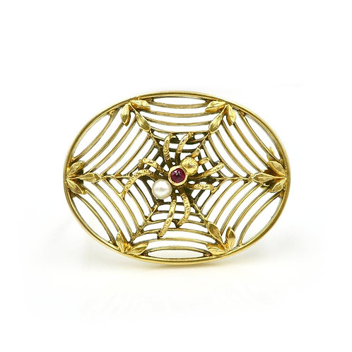 Art Nouveau Ruby & Pearl Spider and Web 14K Gold Antique Brooch
