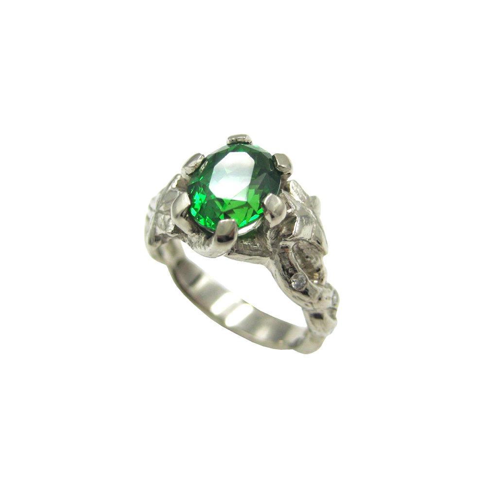Bespoke Tsavorite Garnet Diamond 18k Ivy Ring Goldsmiths