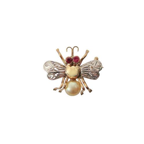 Antique Ruby & Pearl Honey Bee Brooch
