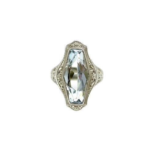 Ostby & Barton Aquamarine 14K White Gold Filigree Art Deco Vintage Ring