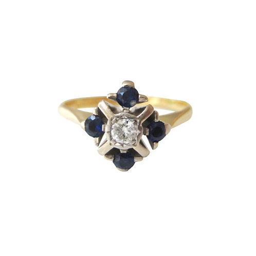Vintage Diamond & Sapphire 18K Ring