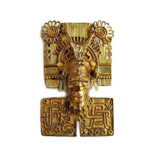 14K Aztec God Pendant/Brooch