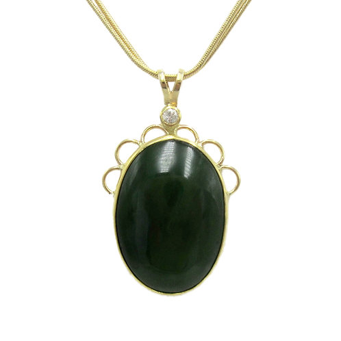 Handmade Dark Nephrite Jade & Diamond Pendant