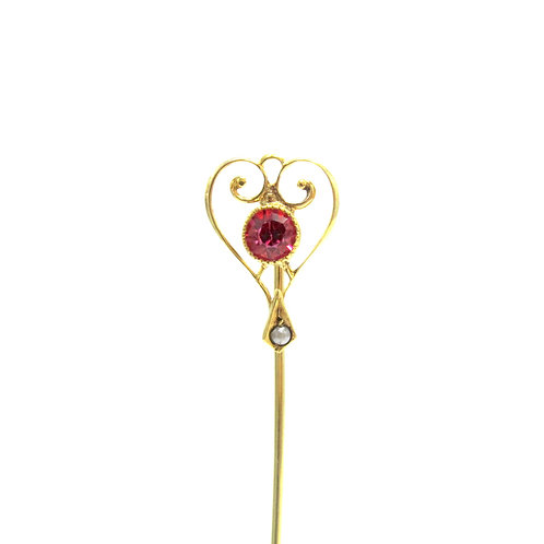 Edwardian Ruby Red Stone & Seed Pearl Stick Pin
