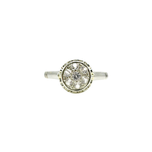 Vintage French Paste & 14K White Gold Buttercup Cluster Ring