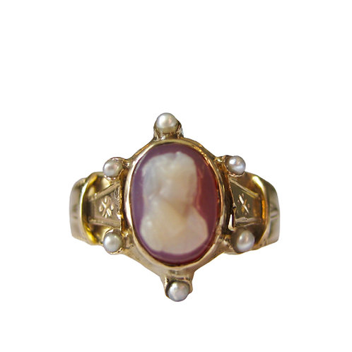 High Relief Cameo & Pearl Ring