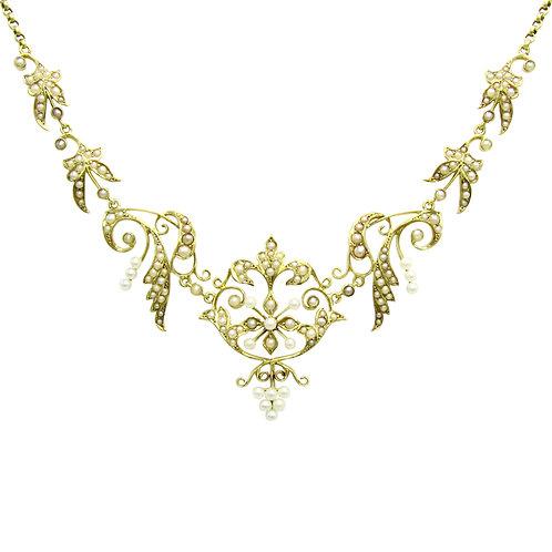 Antique Seed Pearl Fleur-De-Lis Garland Necklace