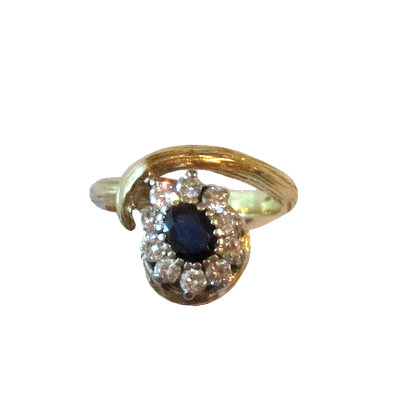 Estate Sapphire & Diamond Cluster Ring