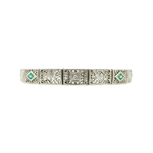 Cellini Emerald & Diamond Vintage Art Deco 14K & Platinum Filigree Bracelet