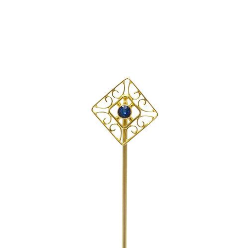 Vintage Sapphire Filigree 14K Gold Stick Pin   Lapel Pin   Tie Pin