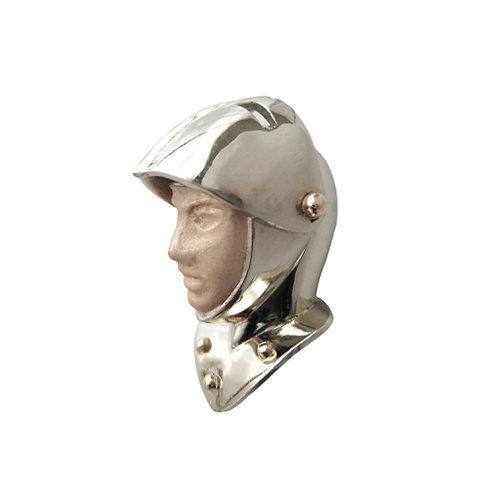 14K Gold & Enamel Knight Armor Helmet Pendant