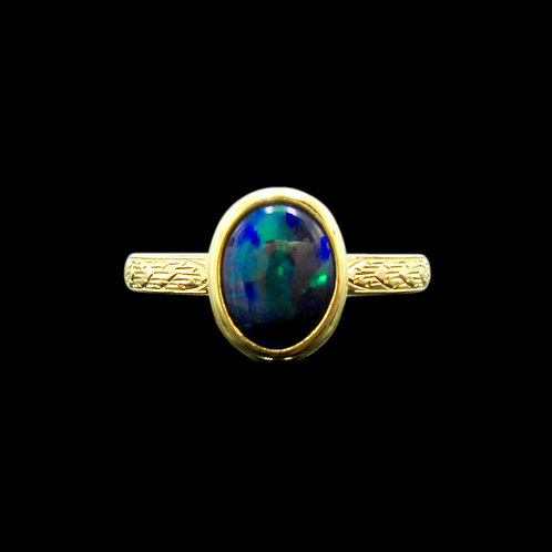 Solid 1.50 Carat Gem Black Opal 18K Engraved Ring