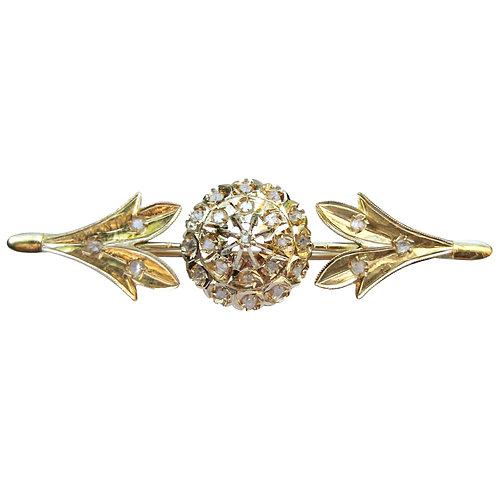 Antique Georgian Diamond Chip Gold Bar Pin Brooch