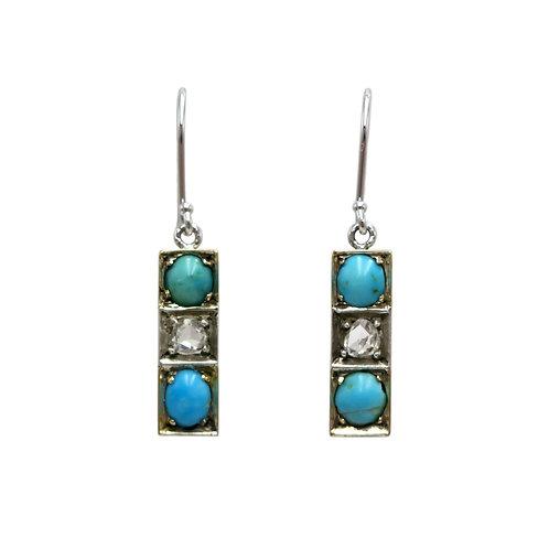 Antique Turquoise, Rose Cut Diamond Earrings