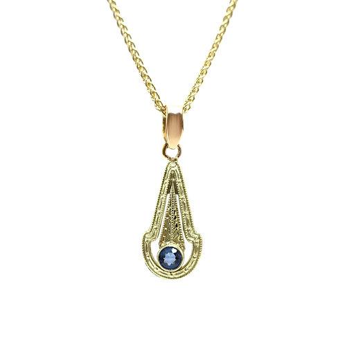 Sapphire Art Deco Vintage 14K Gold Pendant