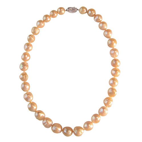 Pink / Peach Colored Graduated Baroque Pearls