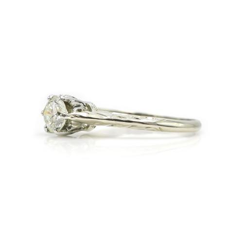 a1cef41c463e Vintage .45 Carat Solitaire Diamond & Engraved 14 K White Gold Engagement  Ring