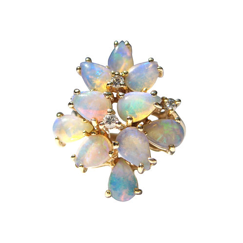 Crystal Opal & Diamond Vintage Cocktail Ring