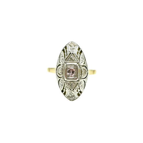 Antique Pink Diamond, 18K Gold & Platinum Filigree Navette Engagement Ring