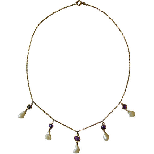 Amethyst & Natural Pearl Fringe Choker Necklace