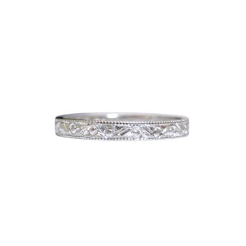 Vintage Engraved Thin Wedding Band Ring 14K Gold