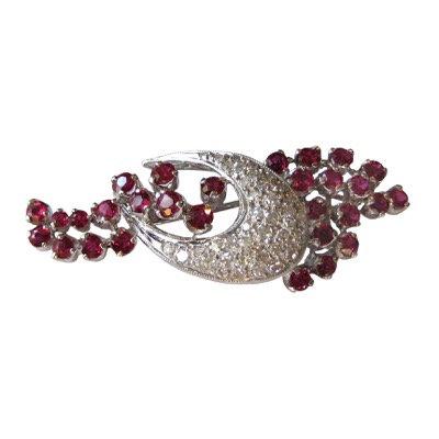 Vintage Ruby & Diamond Brooch
