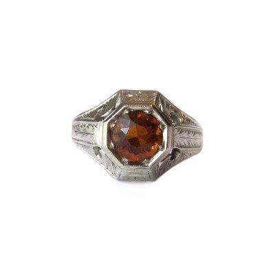 Vintage Hessonite Garnet 14K White Gold Ring