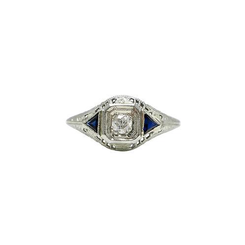 Art Deco Diamond & Sapphire 18K White Gold Filigree Vintage Engagement Ring
