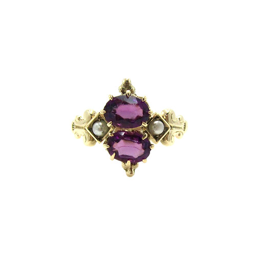 Antique Amethyst & Seed Pearl Victorian Toi et Moi