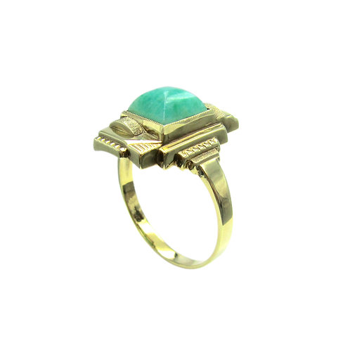 Geometric Amazonite 8K Gold Vintage Art Deco Ring