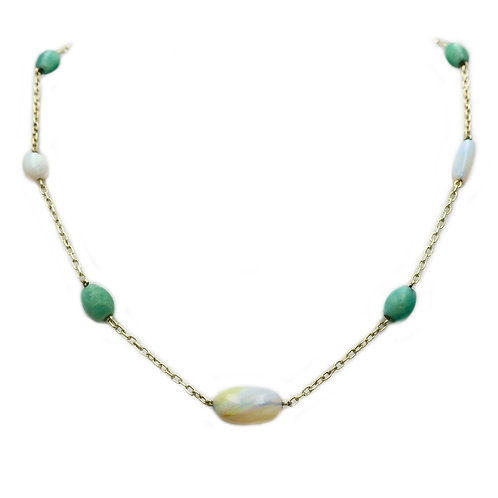 Antique Opal, Amazonite, Pearl, & 14K Gold Station Necklace and Lavalier