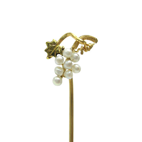 Antique Seed Pearl Grape Cluster 14K Stick Pin