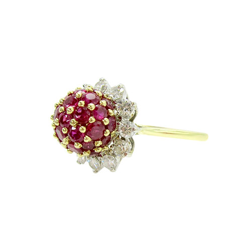 Vintage 3ctw Ruby & 1ctw Diamond 18K Cluster Ring