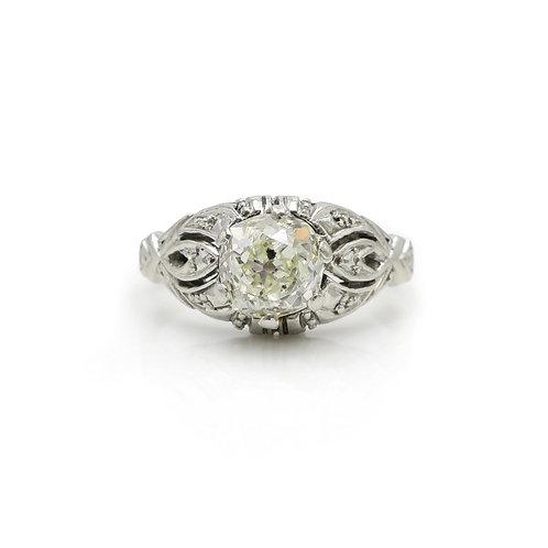 Vintage .96 Carat Solitaire Diamond & 19 Karat White Gold Engagement Ring