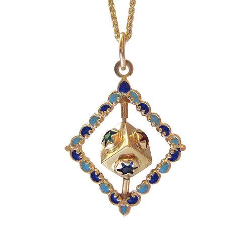 Vintage Spinning Dreidel 14K Gold, Enamel Pendant