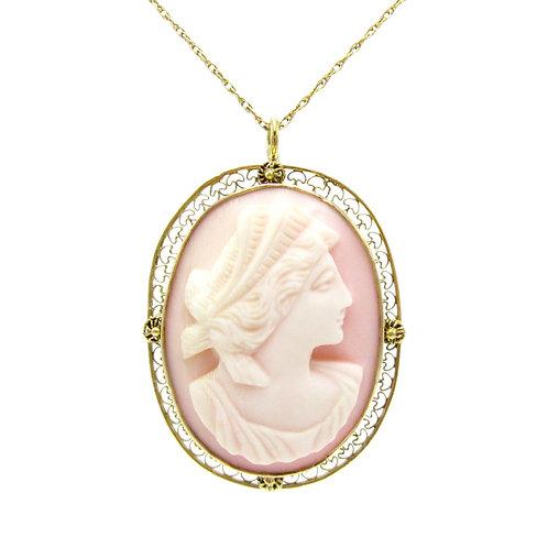 Goddess Hera Carved Shell Cameo Pendant / Brooch