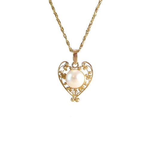 Vintage Pearl Heart 14K Gold Filigree Pendant