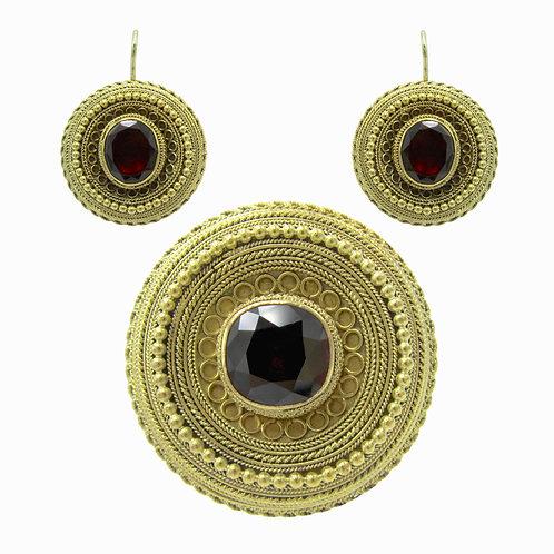 Garnet Cannetille Demi Parure Earring & Brooch Set