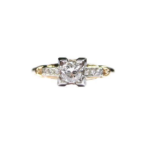 Vintage Wesselton Diamond Engagement Ring