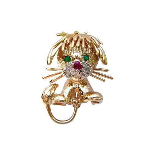 Vintage Diamond, Ruby, & Emerald Lion Brooch Pin