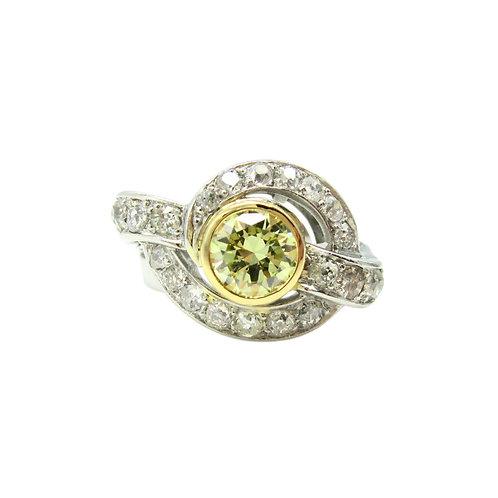 Vintage .94ct Fancy Yellow Diamond & OMC Ring